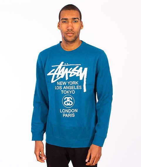 Stussy-World Tour Crew Blue