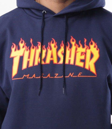 Thrasher-Flame Hood Bluza Kaptur Granatowa