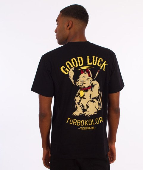 Turbokolor-Lucky Cat Pocket T-Shirt Czarny