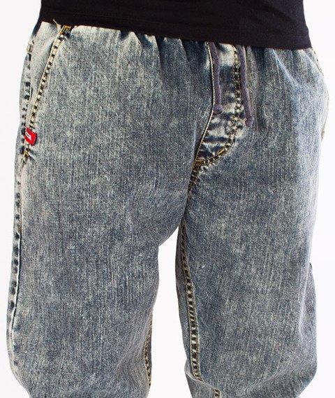 "Unhuman-""U"" Marmurki Jogger Jeans Spodnie Jasne Pranie"