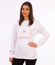 Diamante-Flamingo Crewneck Bluza Damska Biała