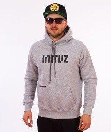 Intruz-Logo Bluza Kaptur Szary