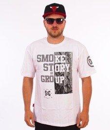 SmokeStory-Half Block T-Shirt Biały