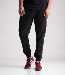 SmokeStory-Jogger Czarny Lampas Slim Tkaninowe Spodnie Czarne