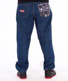 SmokeStory-Stair Pocket Baggy Jeans Medium Blue